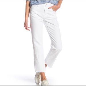 J Brand Wynne Straight High-Rise Crop White Pants